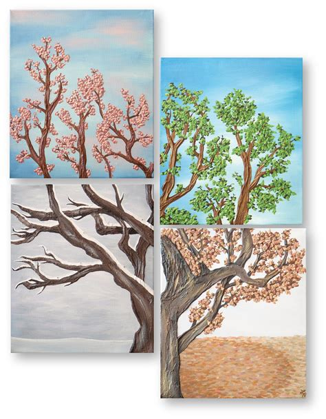 Sets For The Tree - four seasons tree wall painting set four by