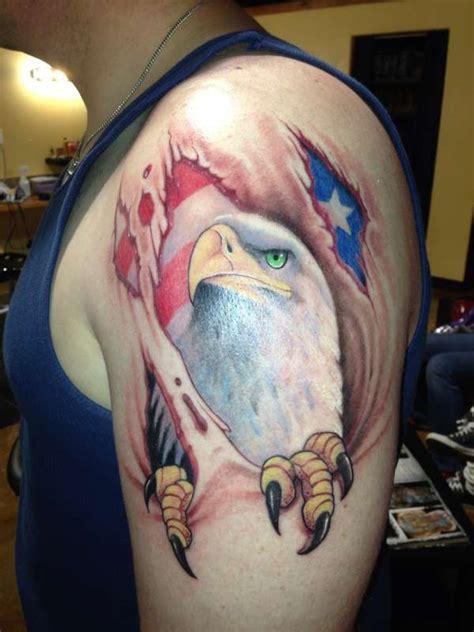 tattoo eagle tearing through skin eagle and flag skin tear tattoo