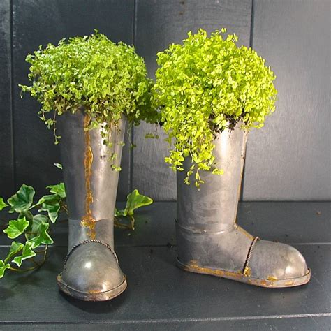 Zinc Wellington Boot Planters By London Garden Trading Boot Planter