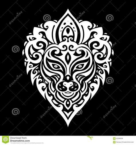 tribal pattern lion lions head tribal pattern vector illustration