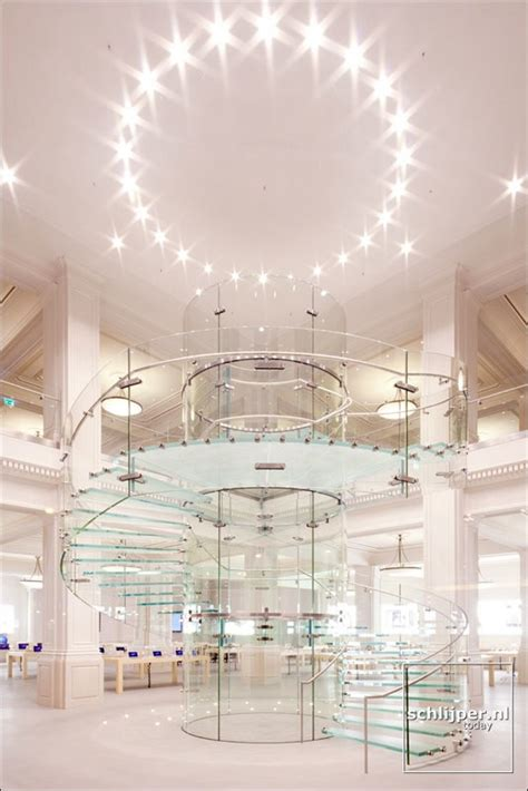 stunning photo  glass staircase  amsterdam retail