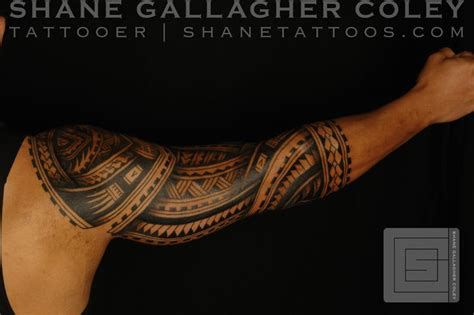 tribal tattoo specialist shane tattoos polynesian sleeve tatau