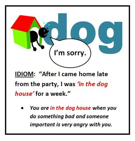Idiom In The Dog House Idioms Pinterest