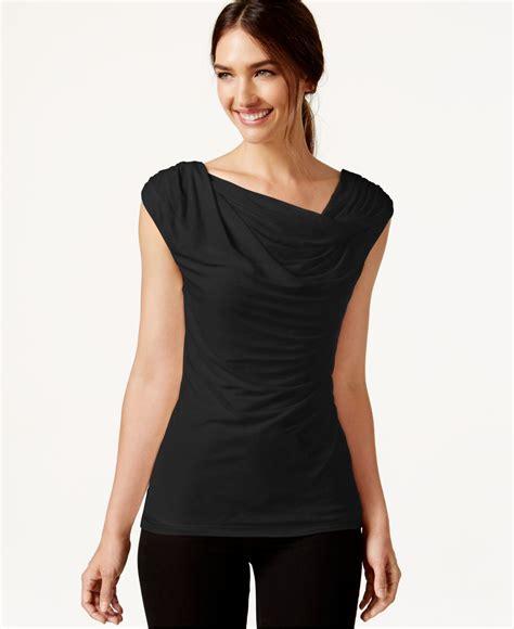sleeveless drape top laundry by shelli segal sleeveless drape neck top in black