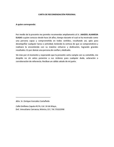carta de referencia familiar word carta de recomendaci 211 n personal jahzeel docx