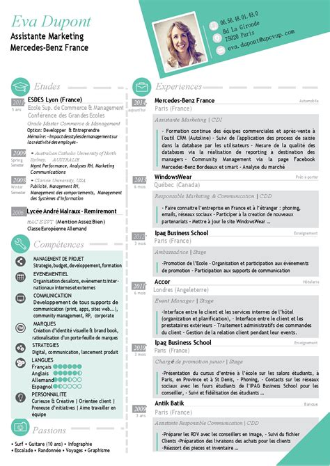 Best Google Resume Templates by Cv Assistante Marketing Cv 224 T 233 L 233 Charger Upcvup