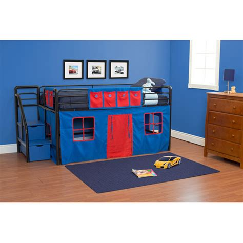 Boys Twin Loft Bed With Storage Steps Walmart Com