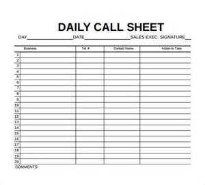 Daily Sheet Template by 8 Sle Call Sheet Templates Free Sle Exle Format