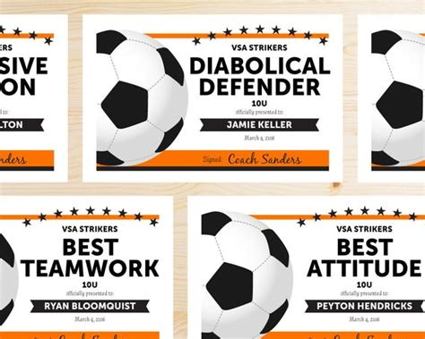 Editable Soccer Award Certificates Instant Download Soccer Award Template