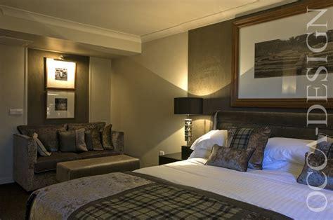 hotel interior bedroom interior scottish interior contemporary design neutral interior desk mirror lamp black shade sofa