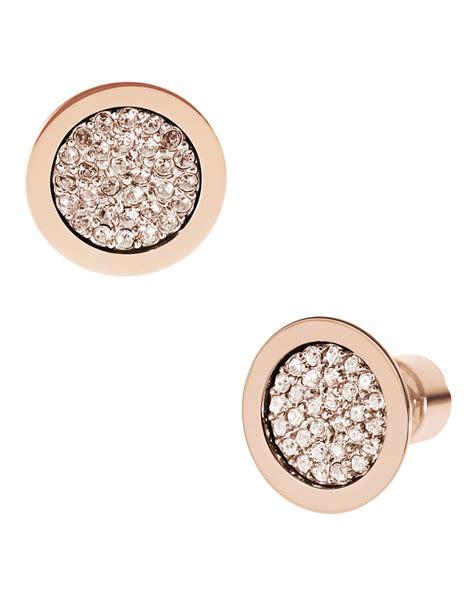 michael kors gold tone pave slice stud earrings in
