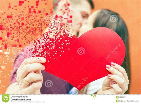 valentines couples happy valentines day holding symbol stock