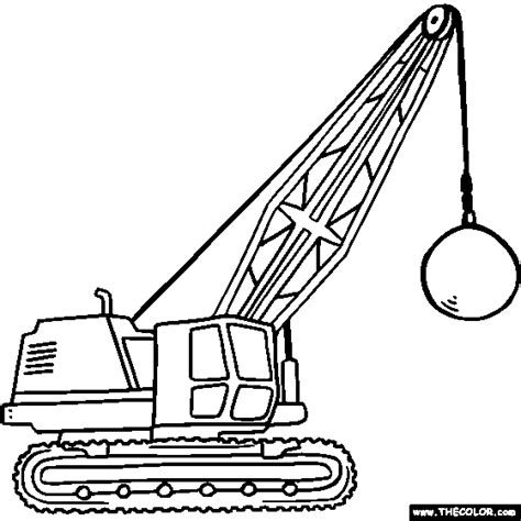coloring page crane truck wrecking ball crane online coloring page little ones
