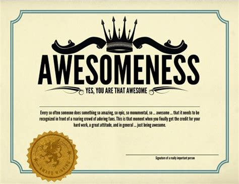 certificate of awesomeness template awesomeness certificates awesomeness shops