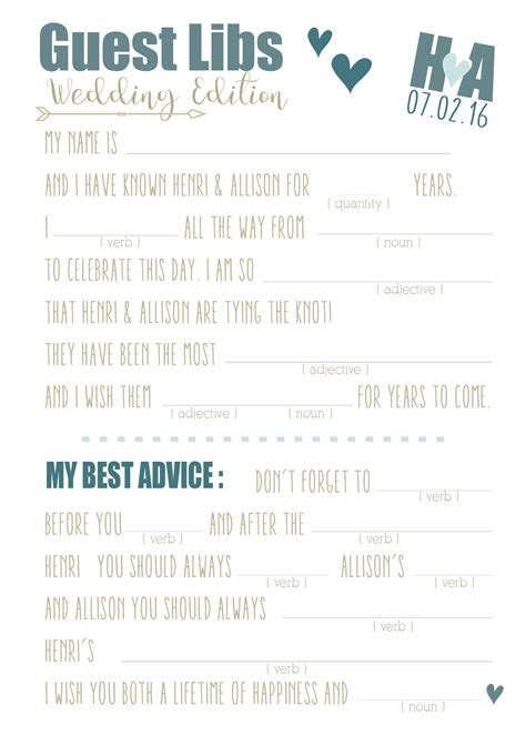 printable wedding mad libs sweet hearts
