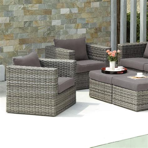 Upton Home Brixton Gray Outdoor Wicker Chair And Ottoman Gray Wicker Patio Furniture