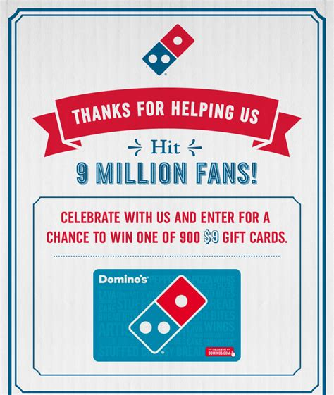 Free Dominos Gift Card - 900 free 9 domino s pizza gift cards