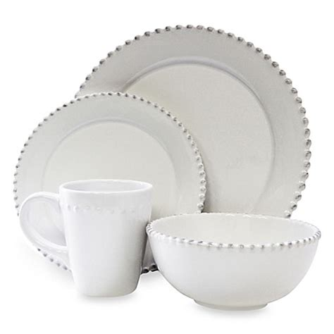 bed bath and beyond dinnerware american atelier bianca bead 16 piece round dinnerware set