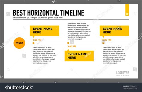 best timeline template best horizontal timeline template 1 stock vector 373699231