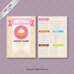 bakery menu template vector free