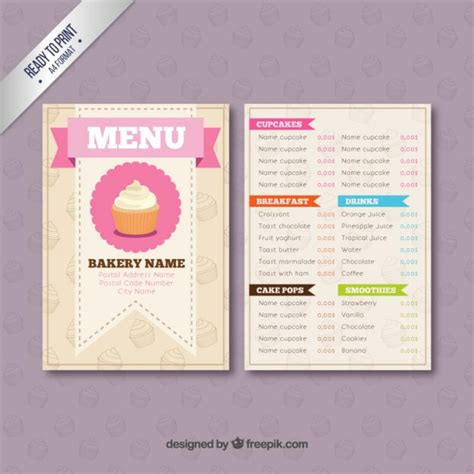 bakery menu template vector free download