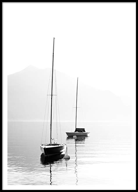 Poster Serenity 30x40cm poster with black and white photography with sailboats