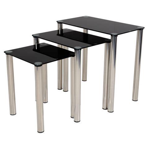 Black Glass Tables Modern Black Glass Nest Of Tables Nesting Set Of Three