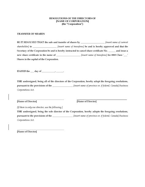 resolution template for board of directors canada directors resolution approving transfer