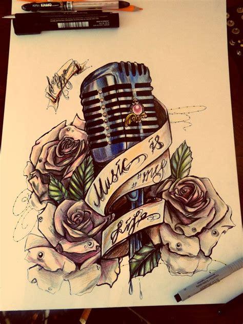 music rose tattoo designs microphone on drum sleeve