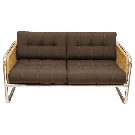 vintage chrome  wicker sofa  stdibs