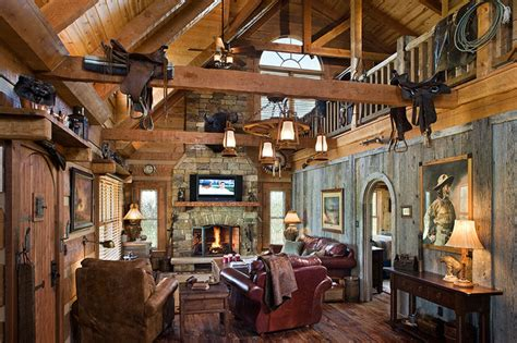 western home interior log home with barn wood and western decor traditional
