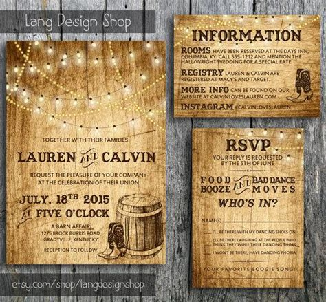 guest information card wedding template country wedding invitation suite with lights and cowboy