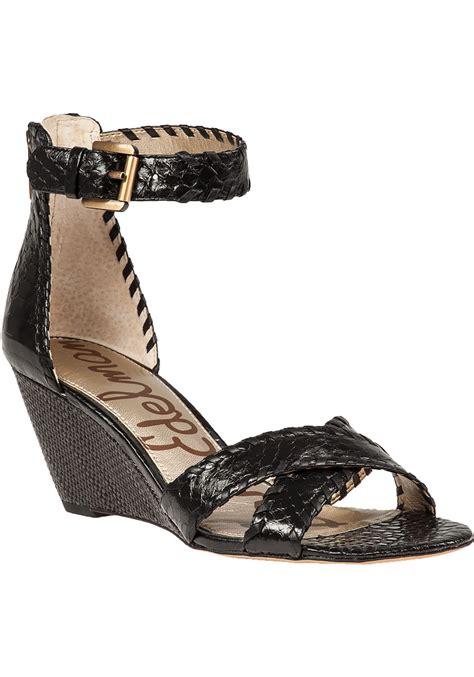 wedge sandals black lyst sam edelman wedge sandals in black