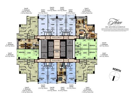 typical floor plan three central makati city condos for sale by megaworld