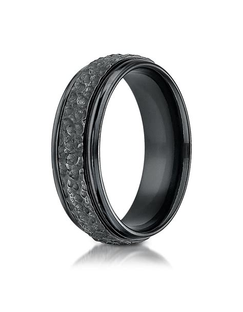 Wedding Bands Hq by Medellin Black Titanium Hammered Wedding Band For