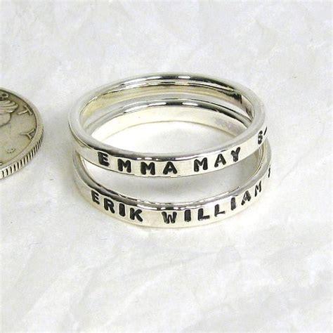 sterling silver name rings set of 2 2 mm rings sterling