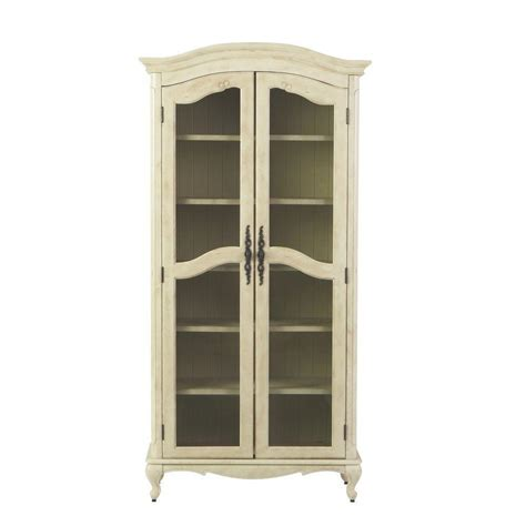 decorators home home decorators collection provence cream glass door bookcase 0505400410 the home depot