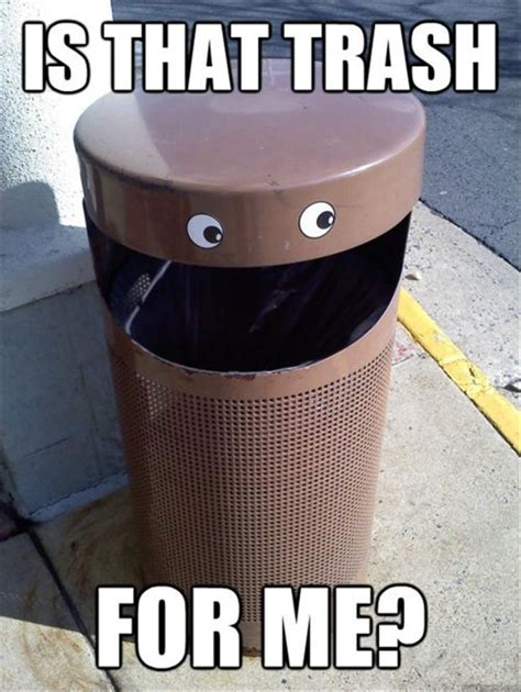 Garbage Meme - funny trash cans dump a day