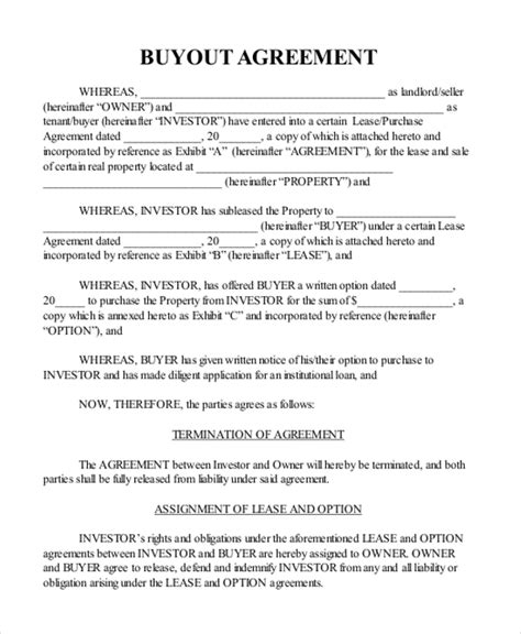buyout agreement template buyout agreement sle real estate templates resume