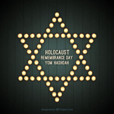 holocaust remembrance day star  lights vector