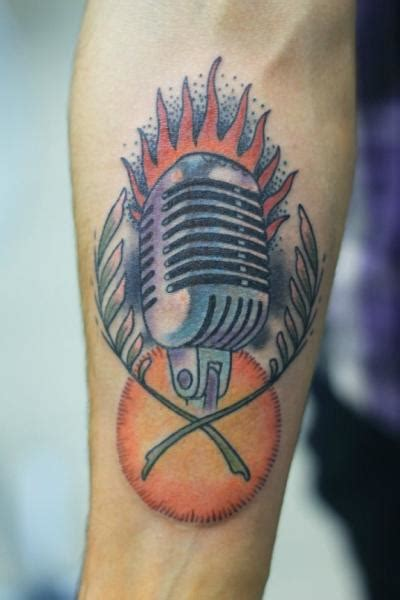 old school microphone tattoo arm school microphone by baraka