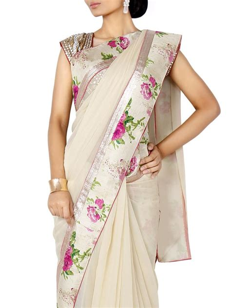 flower design sarees chiffon with floral border saree from weaves beautiful