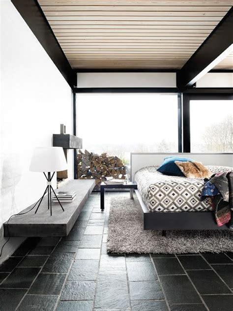 Modern Bedroom Tiles Great Mid Century Modern Bedroom With Cool Black Tile