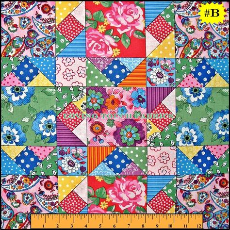 Patchwork Cotton Fabric - sewing theme quilting bee patchwork cotton fabric
