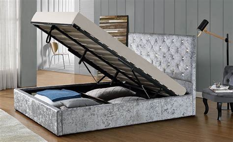 Warwick Bed Frame Warwick Diamante Silver Ottoman Bed Frame Sensation Sleep Beds And Mattresses