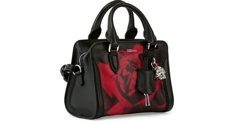 Setelan Mini Skull Black mcqueen mini skull padlock print satchel bag in lyst