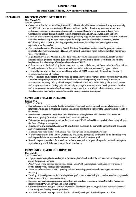 community health resume sles velvet