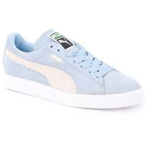 light blue shoes suede classic womens trainers in light blue