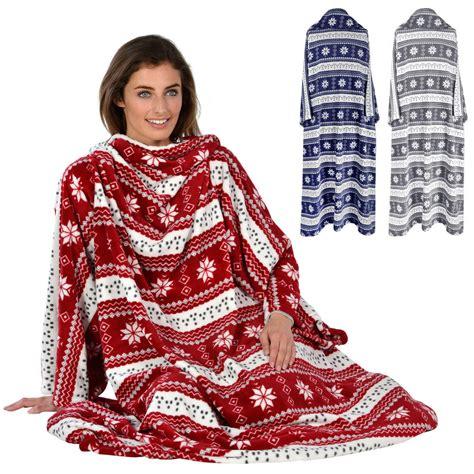 bettdecke kuscheln snowflake patterned snuggle blanket cosy fleece with sleeves