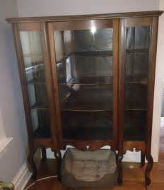 Antique Curved Glass Curio Cabinet For Sale Large Antique Curio Cabinet 6 Legs Beautiful Wood Curved
